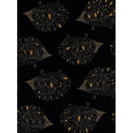 Prickles - Black Canvas Metallic Fabric