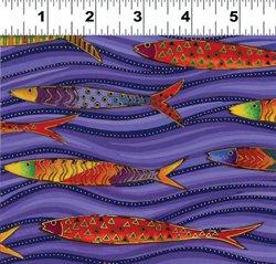 Sea Spirits Y1290-28M Fish and Waves Purple
