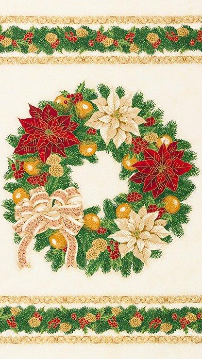 Holiday Flourish: Christmas Wreath on Ivory - Panel