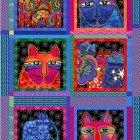 Feline Frolic panel 24 x 42 with 8 unframed blocks