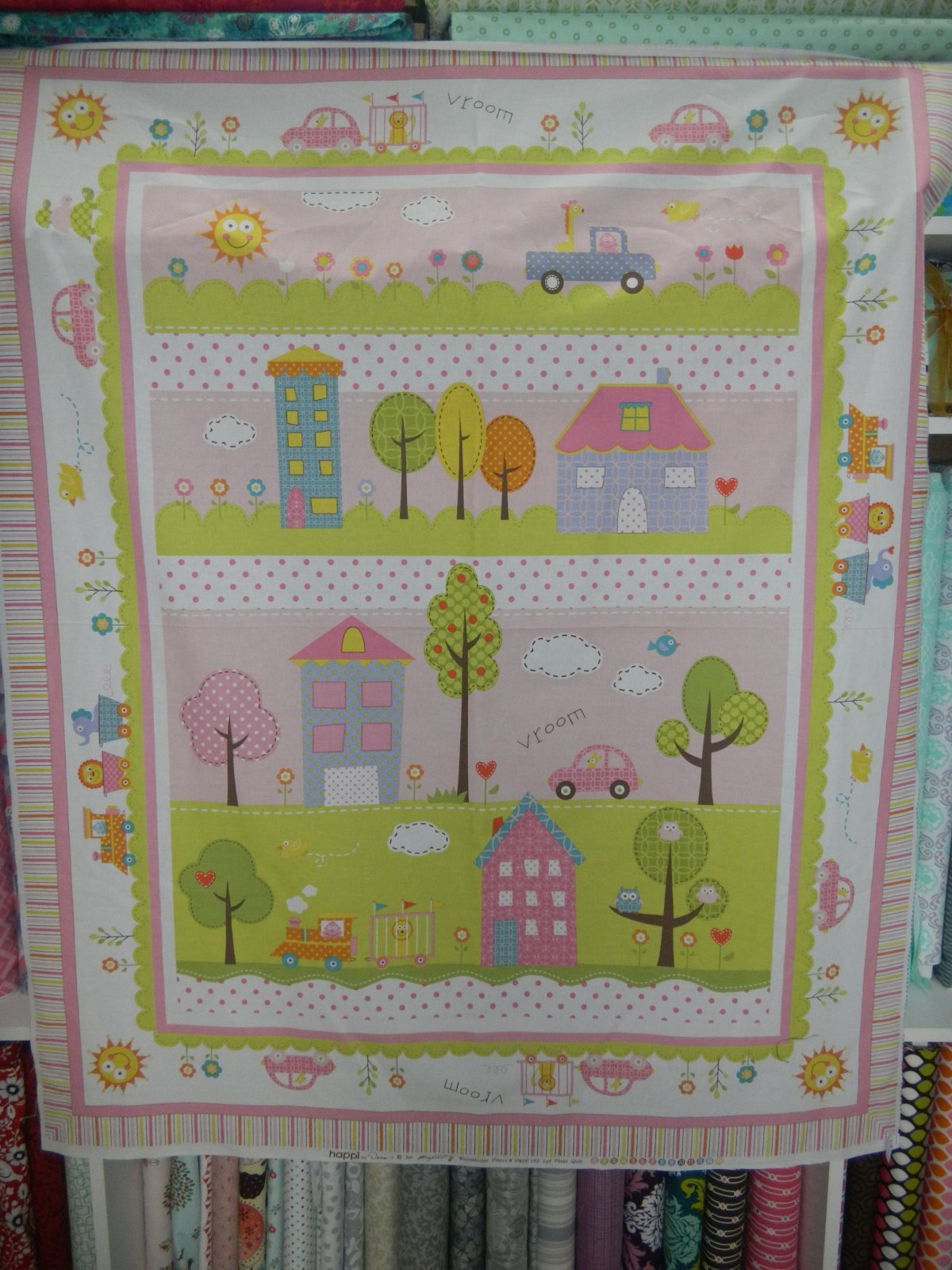 Panel#14 - Cotton - Happi  - Green/Pink/Blue - Baby