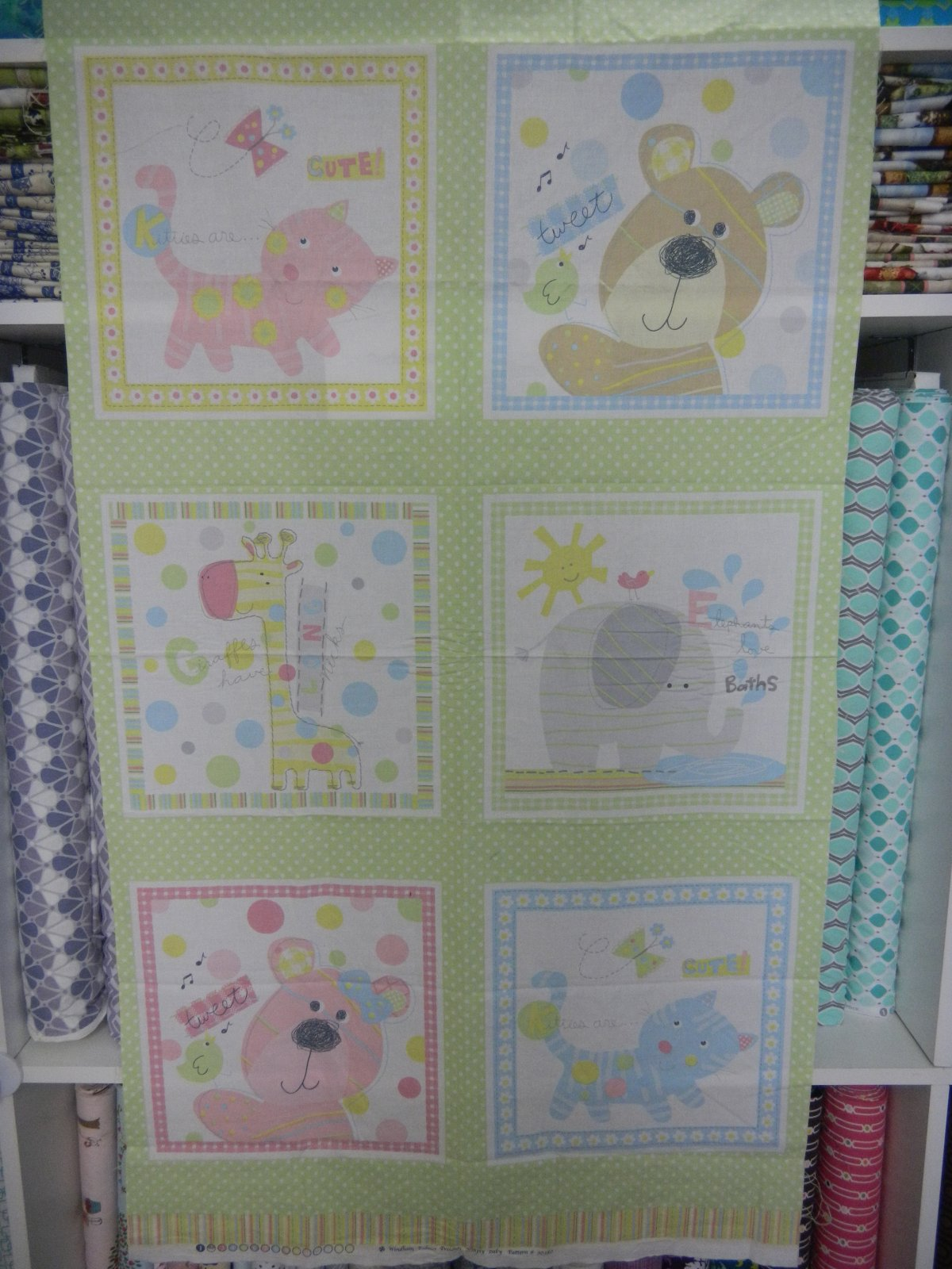 Panel#6 - Cotton - Cat/Teddy -Pink/Blue
