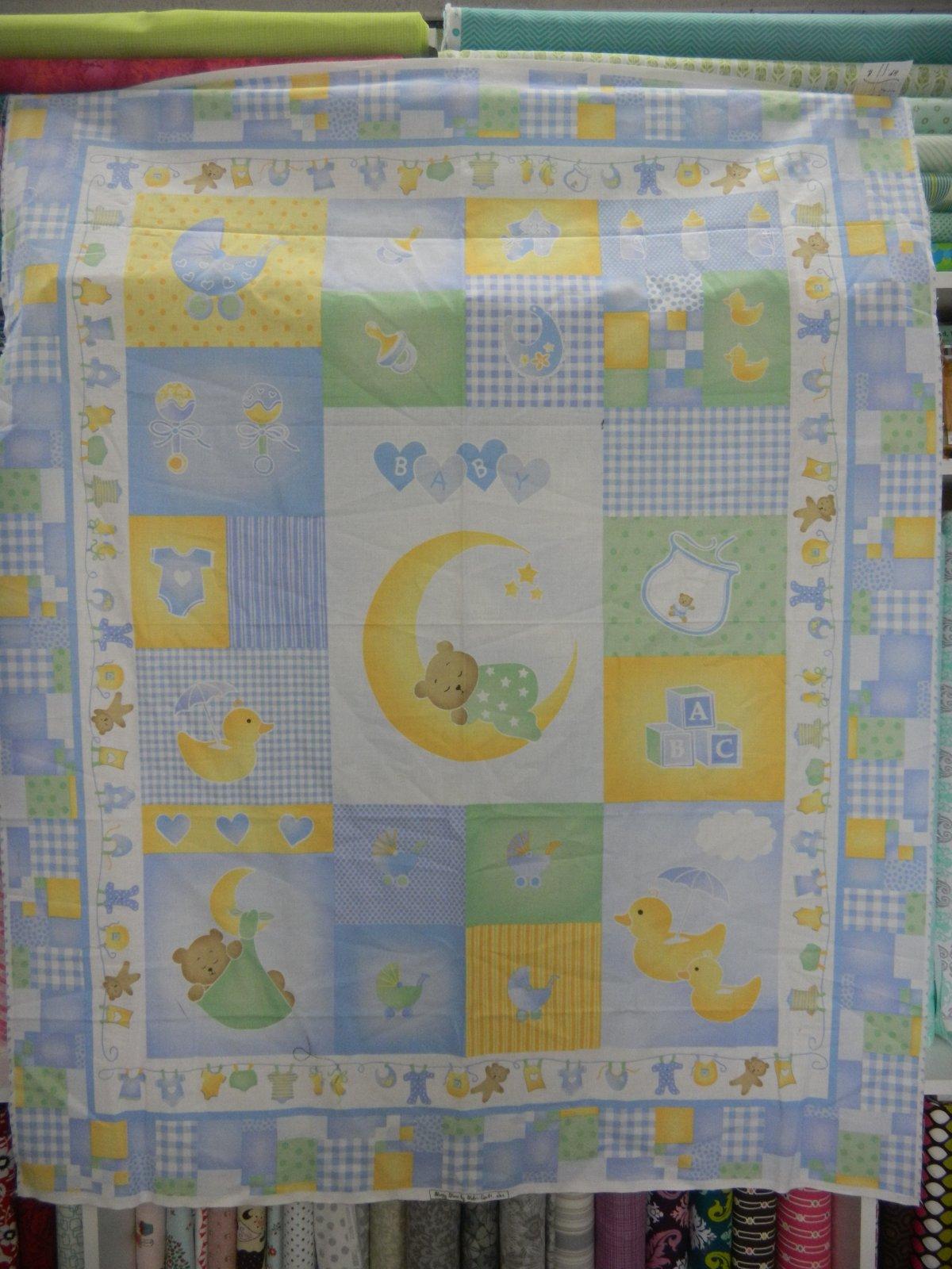 Panel#15 - Cotton - Teddy/Ducks  - Green/Yellow/Blue - Baby - copy