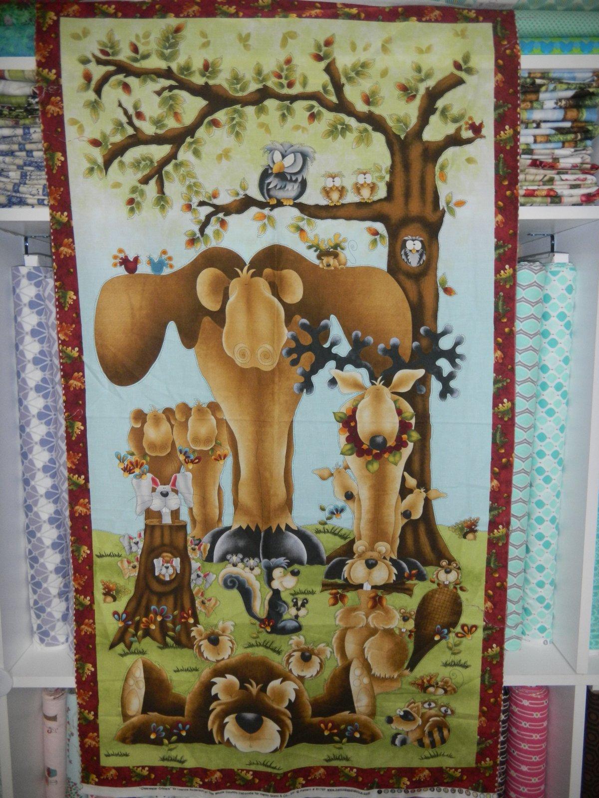 Panel#12 - Cotton - Woodland Moose - baby