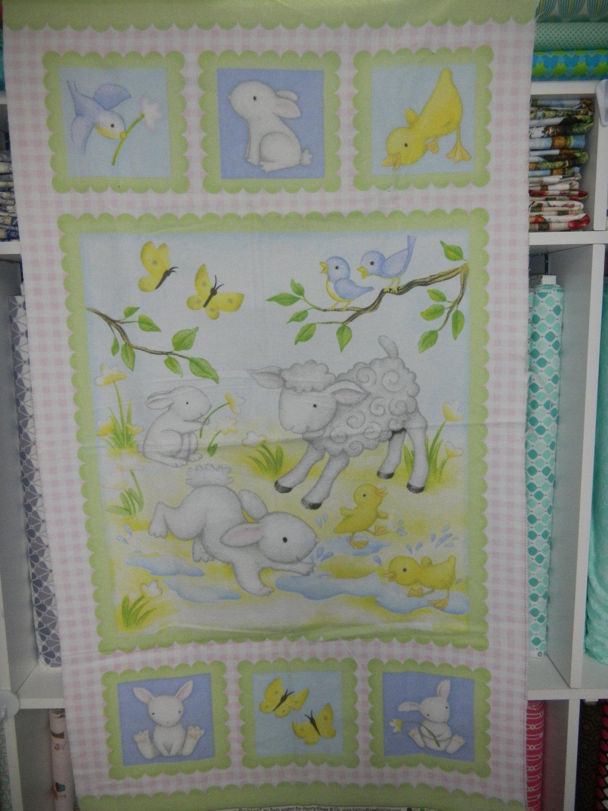 Panel#5 - Flannel - Lamb/Bunny - Blue/green