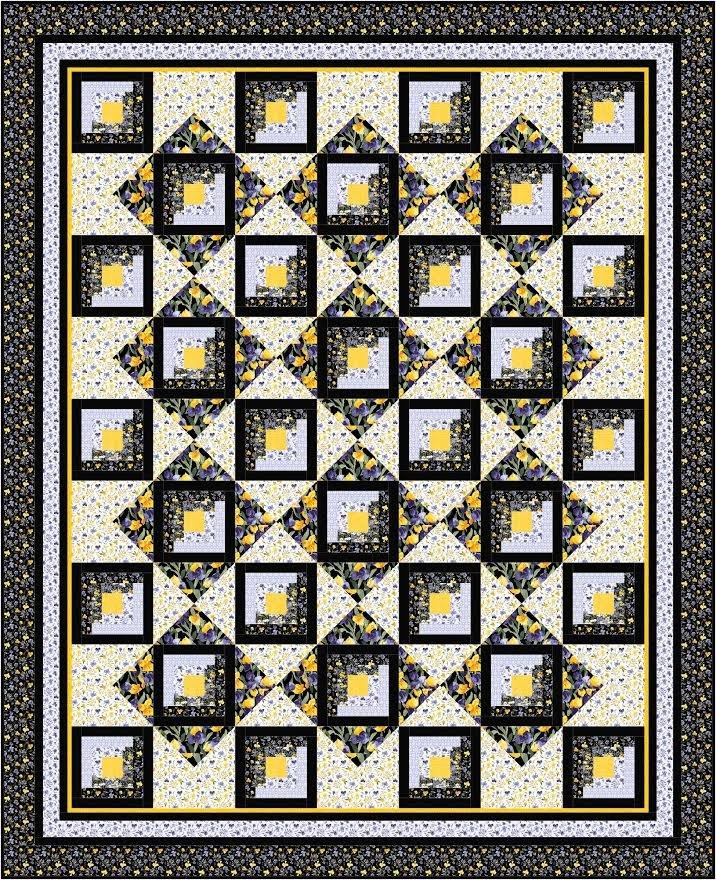 Framed Log Cabin quilt pattern - downloadable