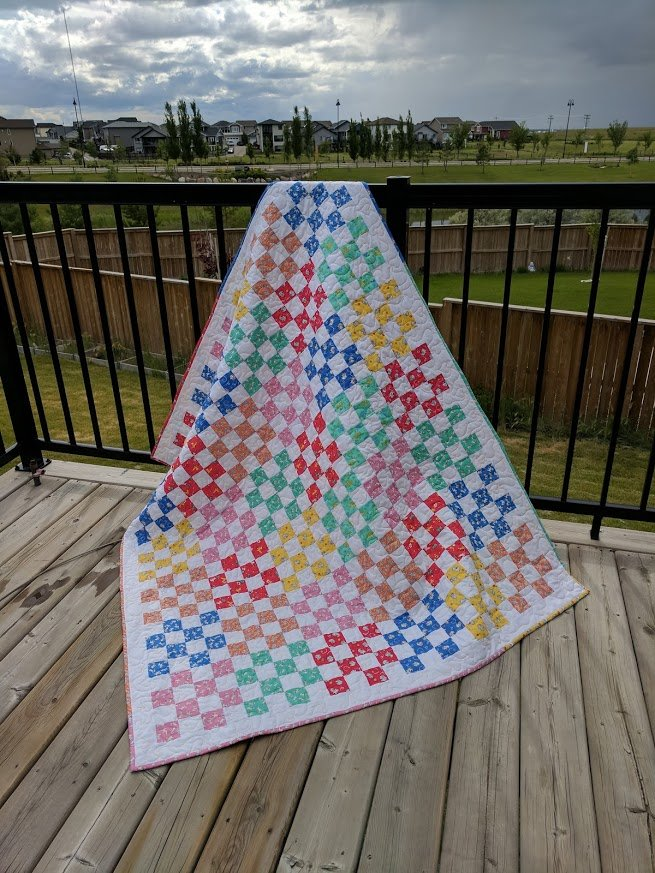 Sweet Sixteen throw size quilt pattern - downloadable