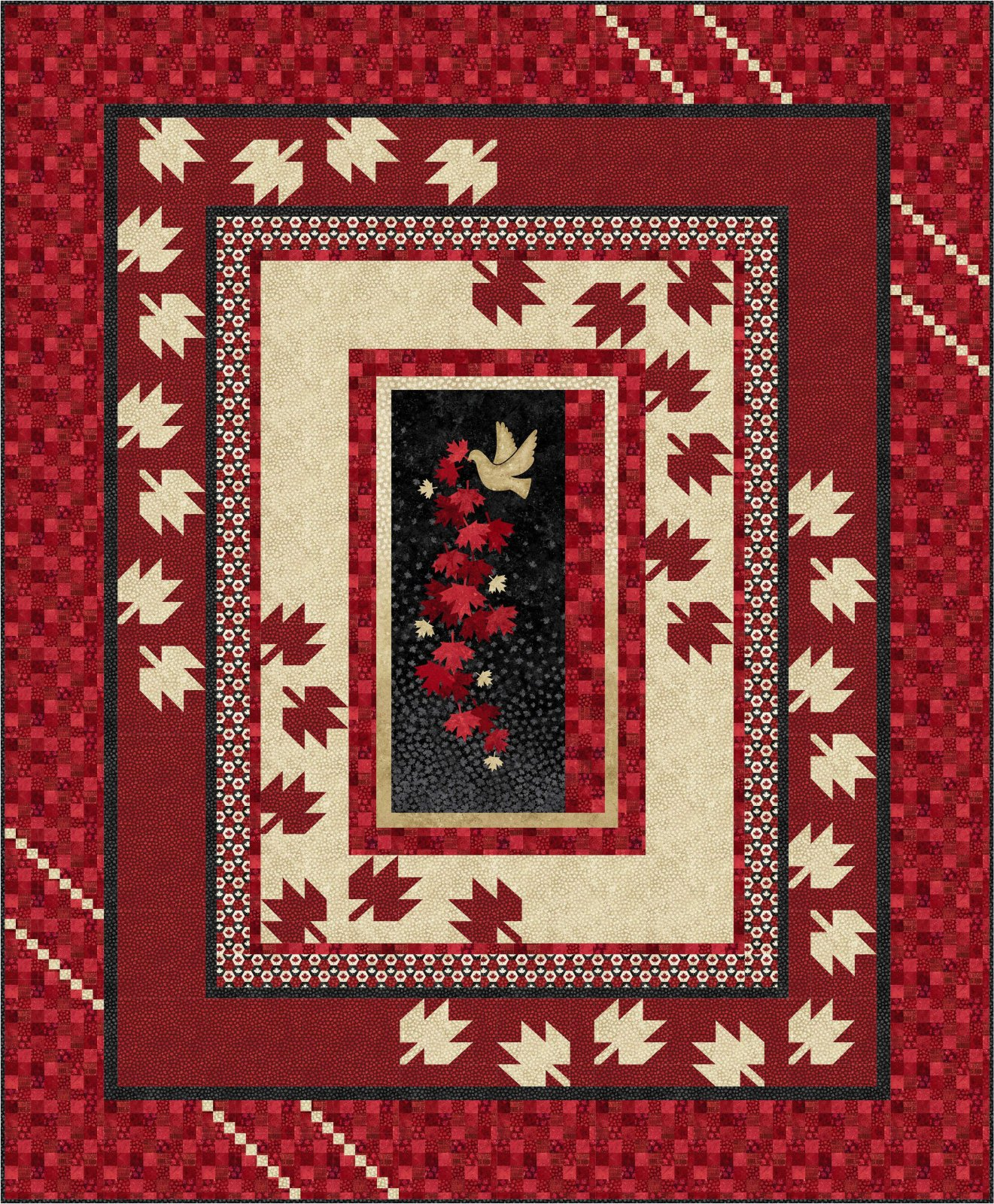 Scattered Leaves  - queen size quilt kit