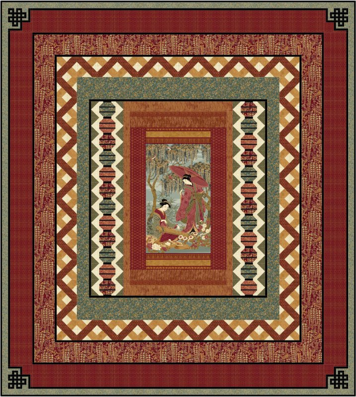 Oriental Garden Quilt pattern - downloadable