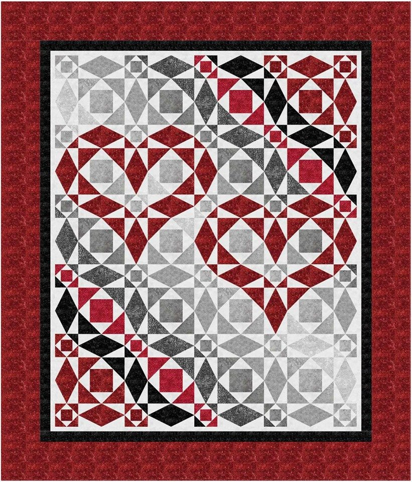 Our Hearts Will Go On queen quilt kit - Red, Black, Grey.   King size available by request.