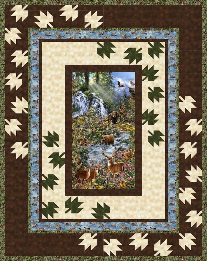 Scattered Leaves - Saddle River - twin size quilt kit