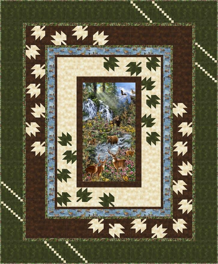 Scattered Leaves - Saddle River - queen size quilt kit