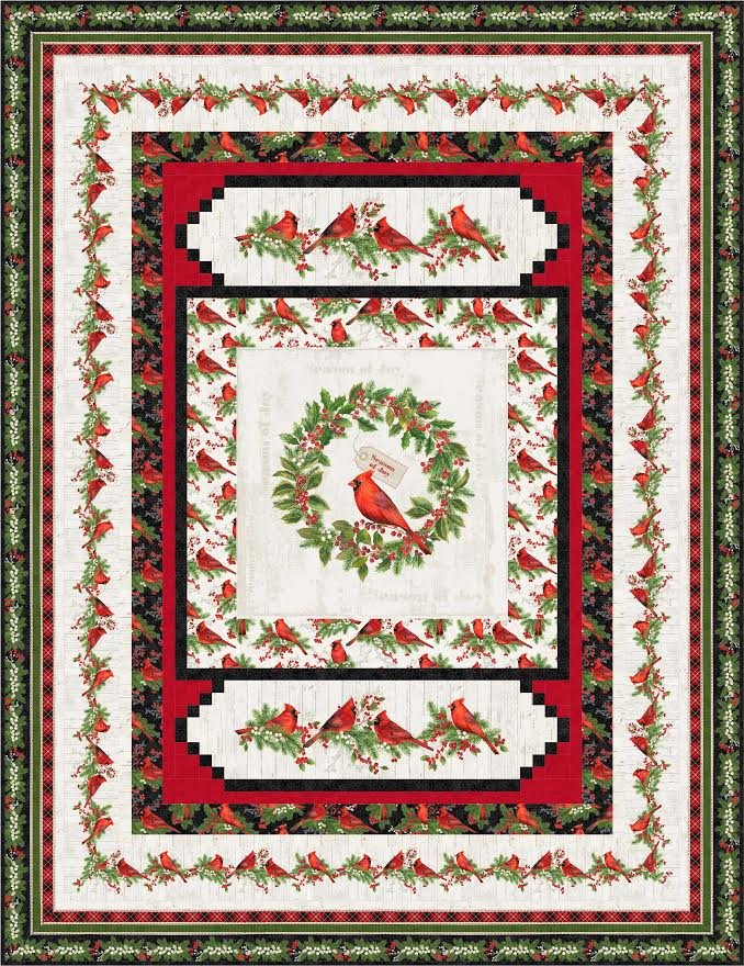 Cardinal Wreath quilt pattern - downloadable