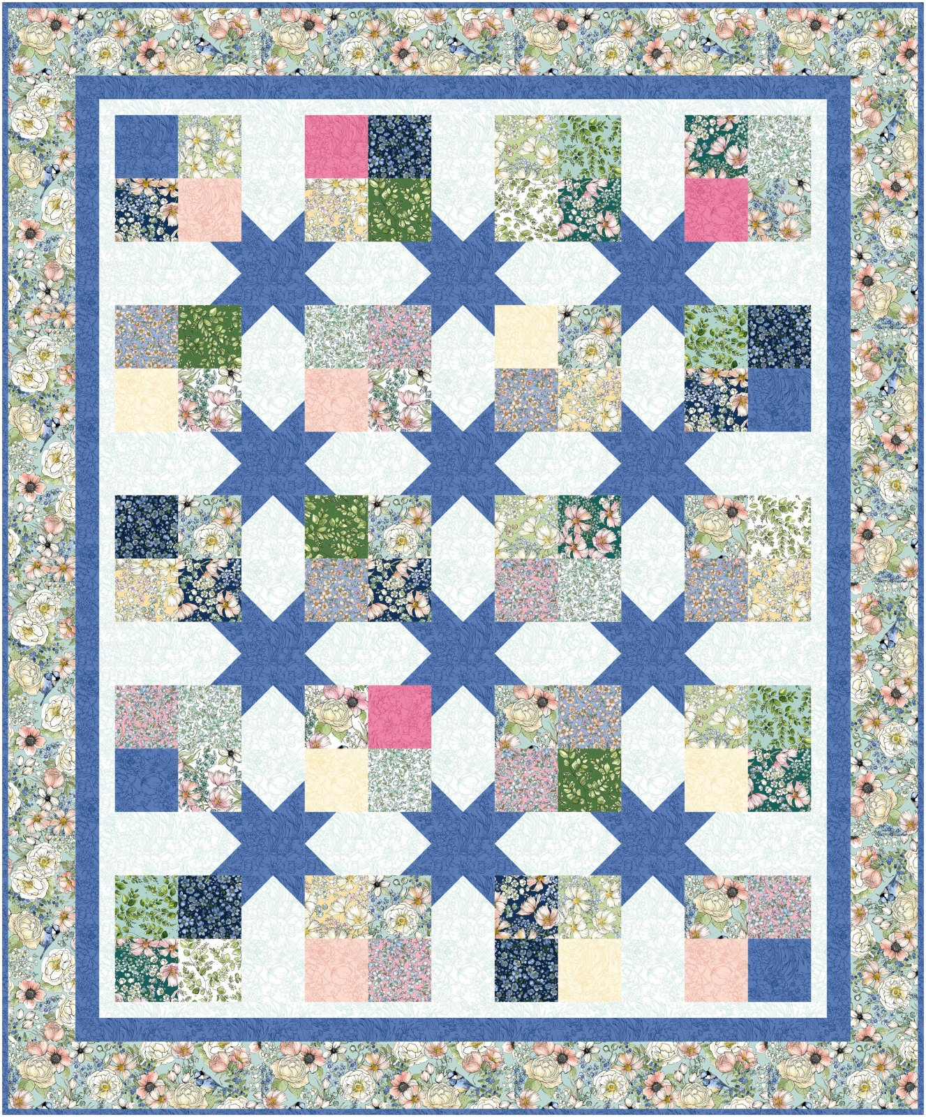 Floating Four Patches - Queen quilt kit