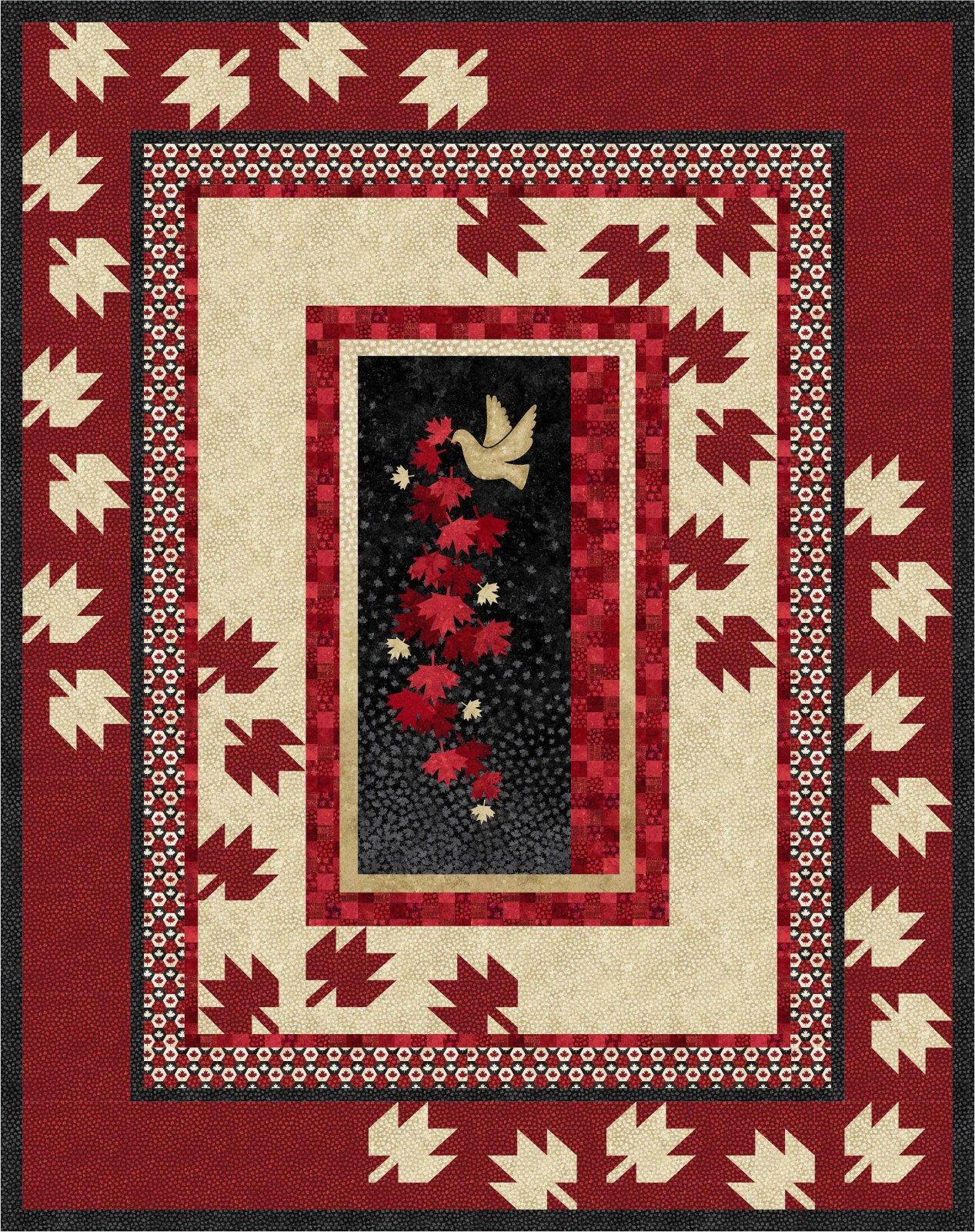 Scattered Leaves quilt kit - twin/throw size
