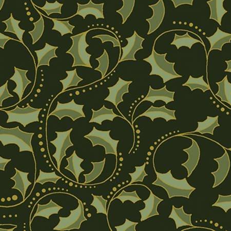 A FESTIVE SEASON 2 - Dark Green  Leaf Scroll w/Metallic 2657M 44