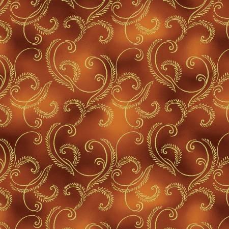 Autumn Splendor 8419M 10 Garland Dark Red Gold w/Metallic