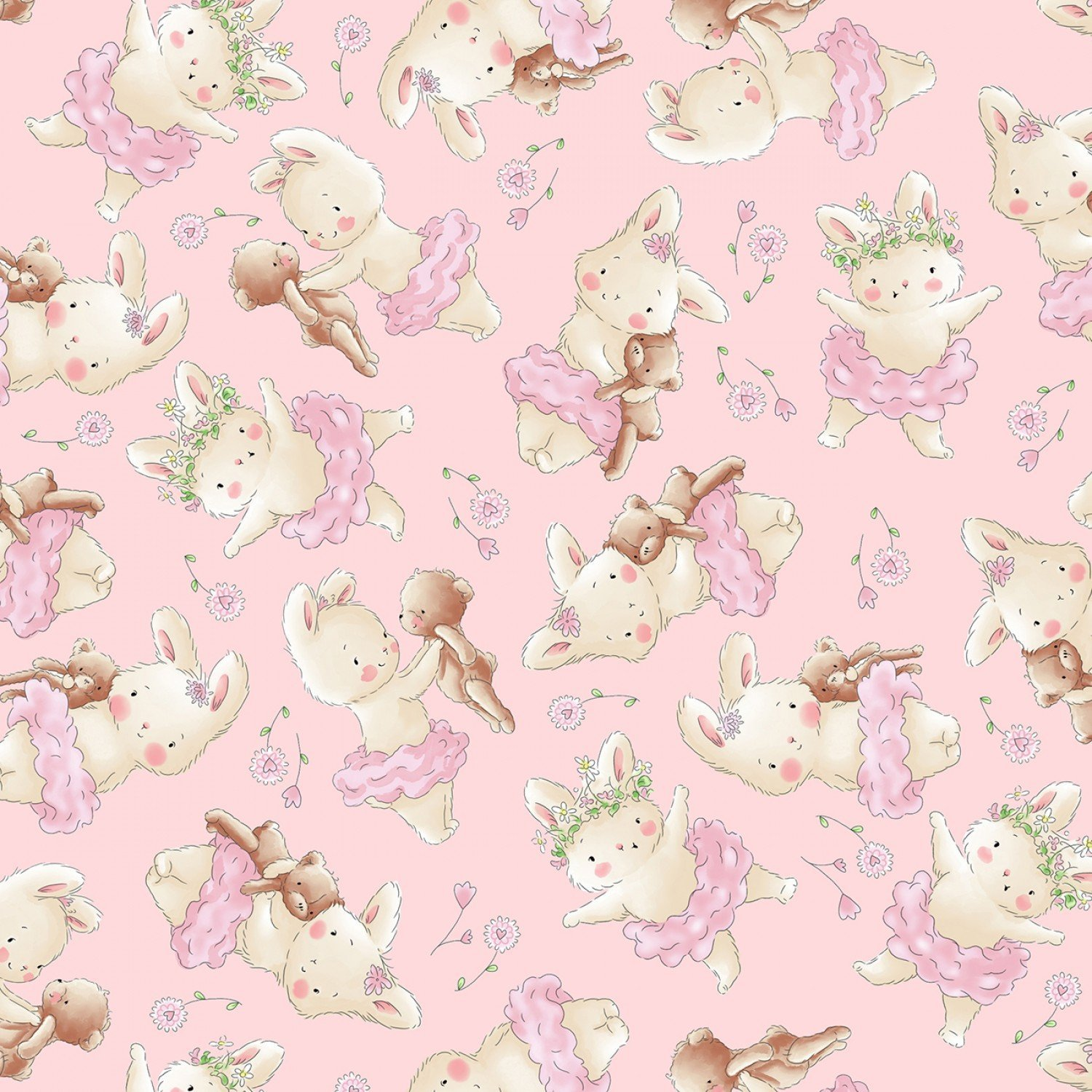 BUNNIES TOSSED BUNNIE AND HER BEAR FLANNEL CF7245 PINK