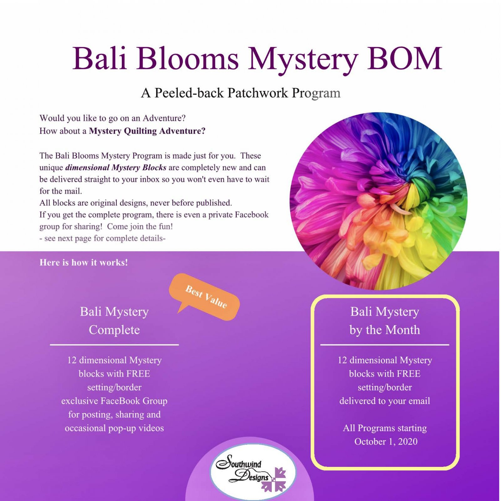 Bali Blooms Mystery BOM - Monthly
