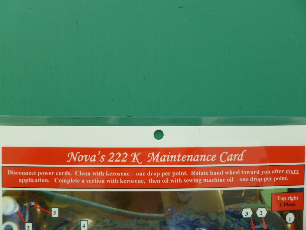 Nova's 222 K Maintenance Card (free arm machine)
