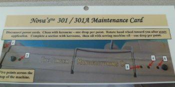 Nova's 301 / 301A Maintenance Card