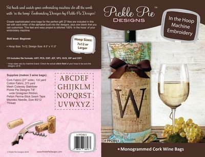 CD PICKLE PIE Monogrammed Cork Wine Bags