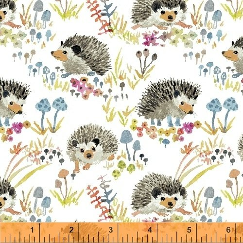 Enchanted Forest - Happy Hedgehog in White by Betsy Olmsted for Windham Fabrics sku:43499-1