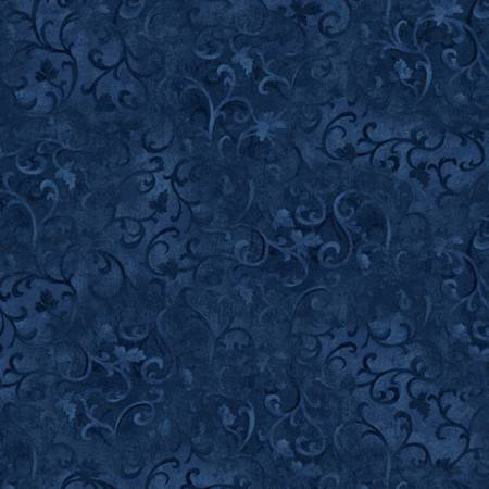 Scroll Essentials Basics Collection in True Navy  by Wilmington Prints sku:89025-494