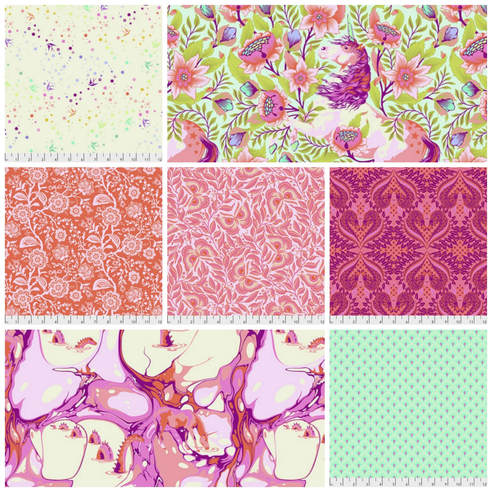 Pinkerville by Tula Pink Fat Quarter Bundle in Cotton Candy - 7 Count