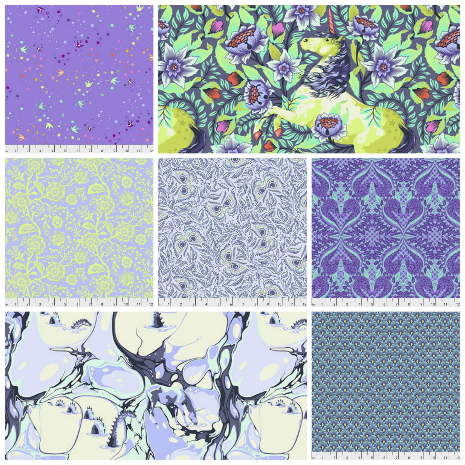 Pinkerville by Tula Pink Fat Quarter Bundle in Day Dream - 7 Count