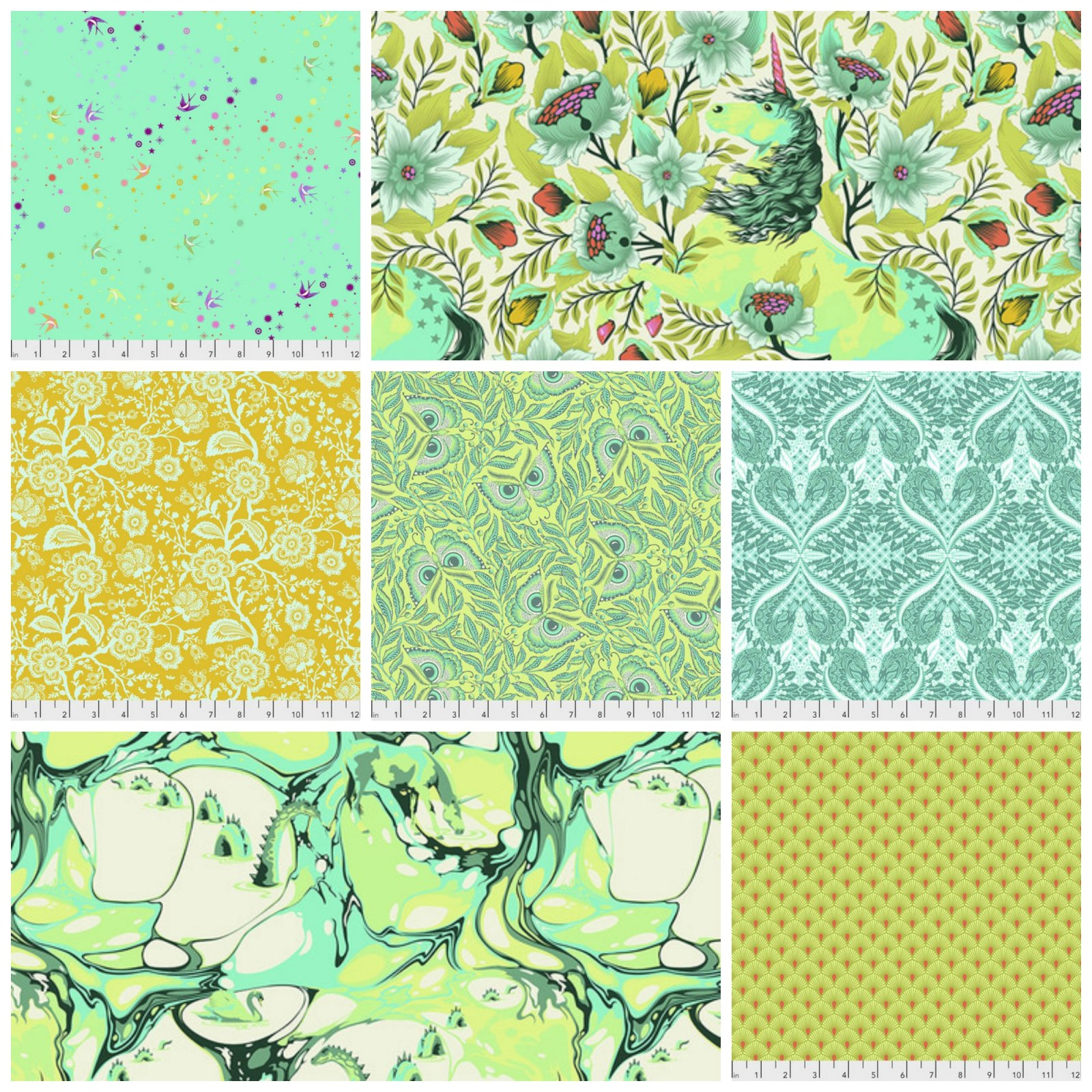 Pinkerville by Tula Pink Fat Quarter Bundle in Frolic - 7 Count