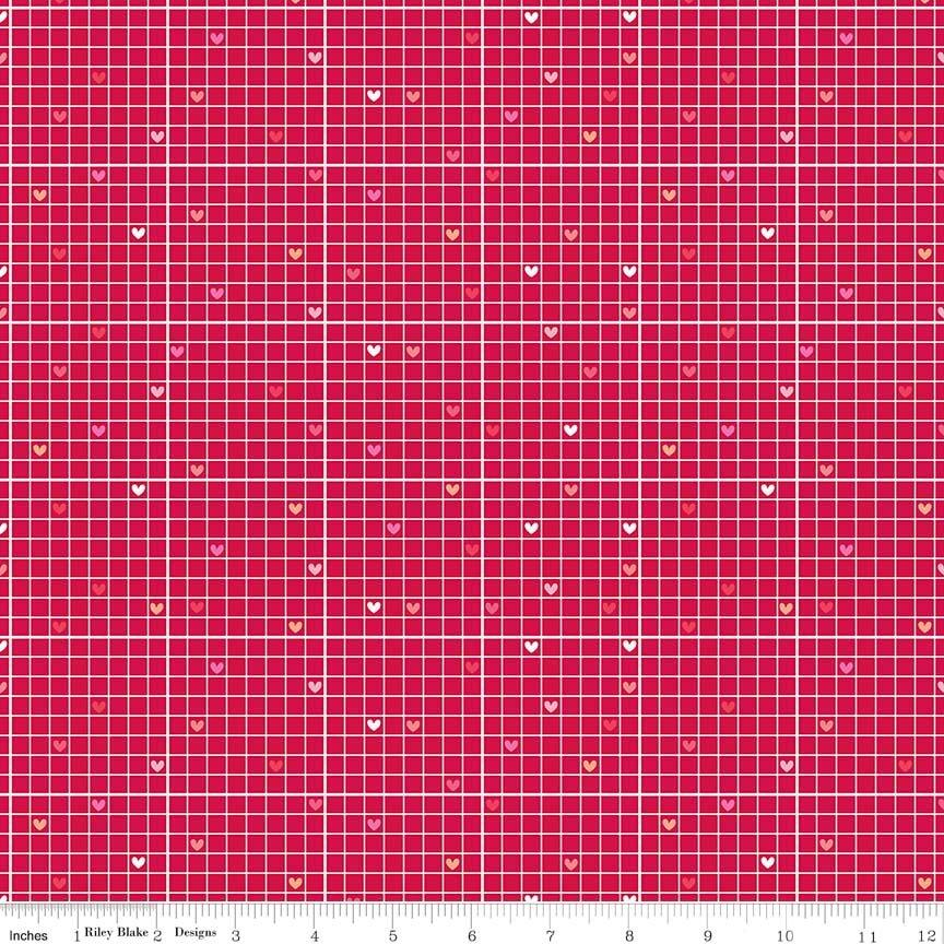 Lovebugs - Grid in Red by Doodlebug Designs for Riley Blake Designs