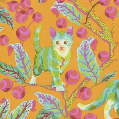 25'' End of Bolt Piece - Tabby Road - Disco Kitty in Marmalade Skies by Tula Pink for Free Spirit Fabric sku:PWTP092.MARMA