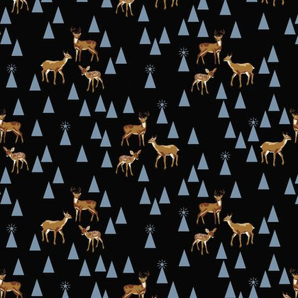 Holiday Homies - Bambi Life in Blue Spruce by Tula Pink for Free Spirit Fabric
