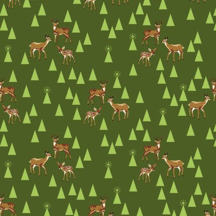 Holiday Homies - Bambi Life in Pine Fresh by Tula Pink for Free Spirit Fabric