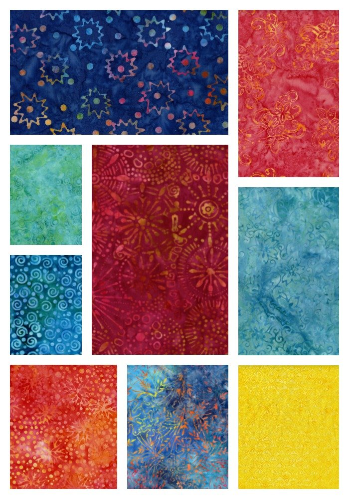 Primo Batiks - Radiant Reflections Fat Quarter Bundle 9 pieces