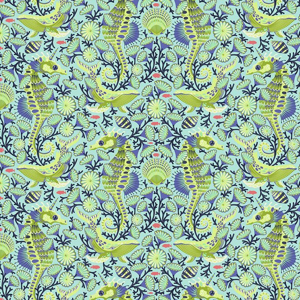Zuma - Sea Stallion in Aqua Marine by Tula Pink for Free Spirit Fabrics
