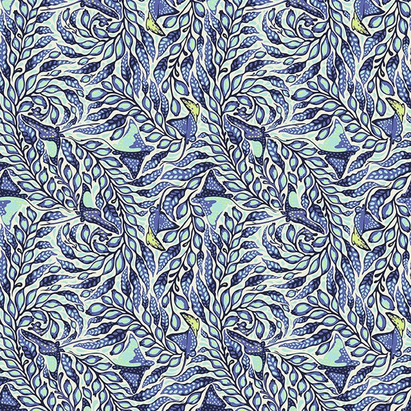 Zuma - Stingray in Aqua Marine by Tula Pink for Free Spirit Fabrics