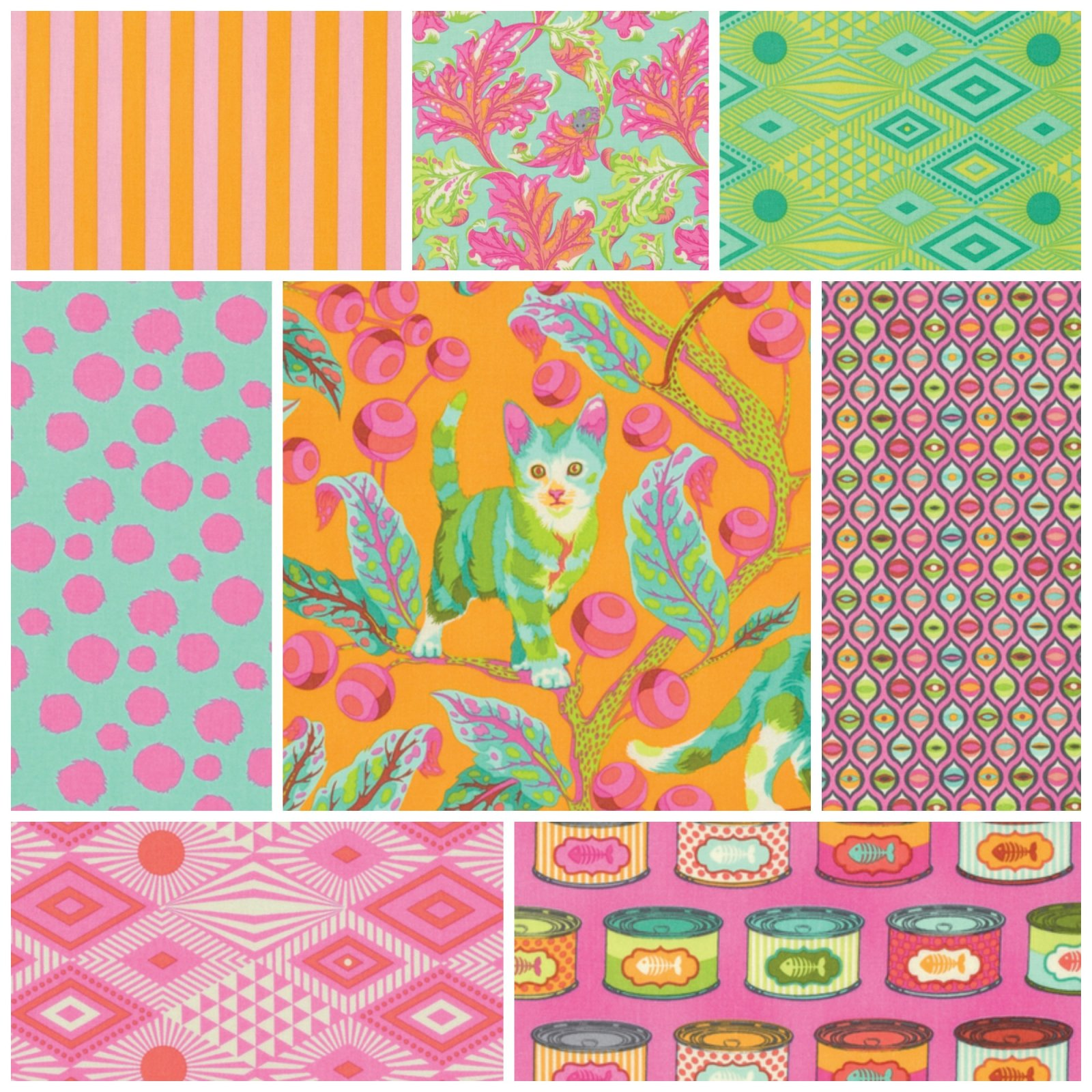 Tabby Road by Tula Pink Fat Quarter Bundle in Marmalade Skies - 8 count