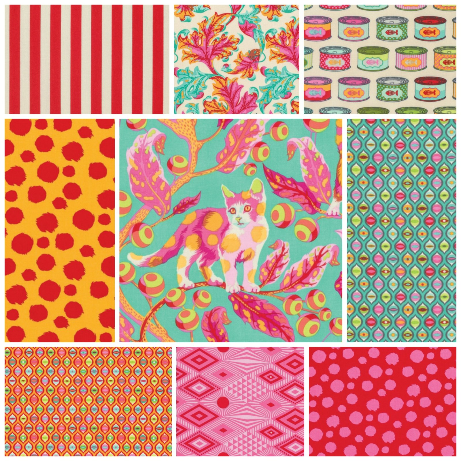 Tabby Road by Tula Pink Fat Quarter Bundle in Strawberry Fields - 9 count