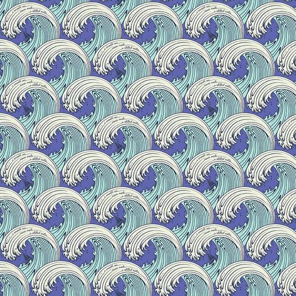 Zuma - White Caps in Aqua Marine by Tula Pink for Free Spirit Fabrics