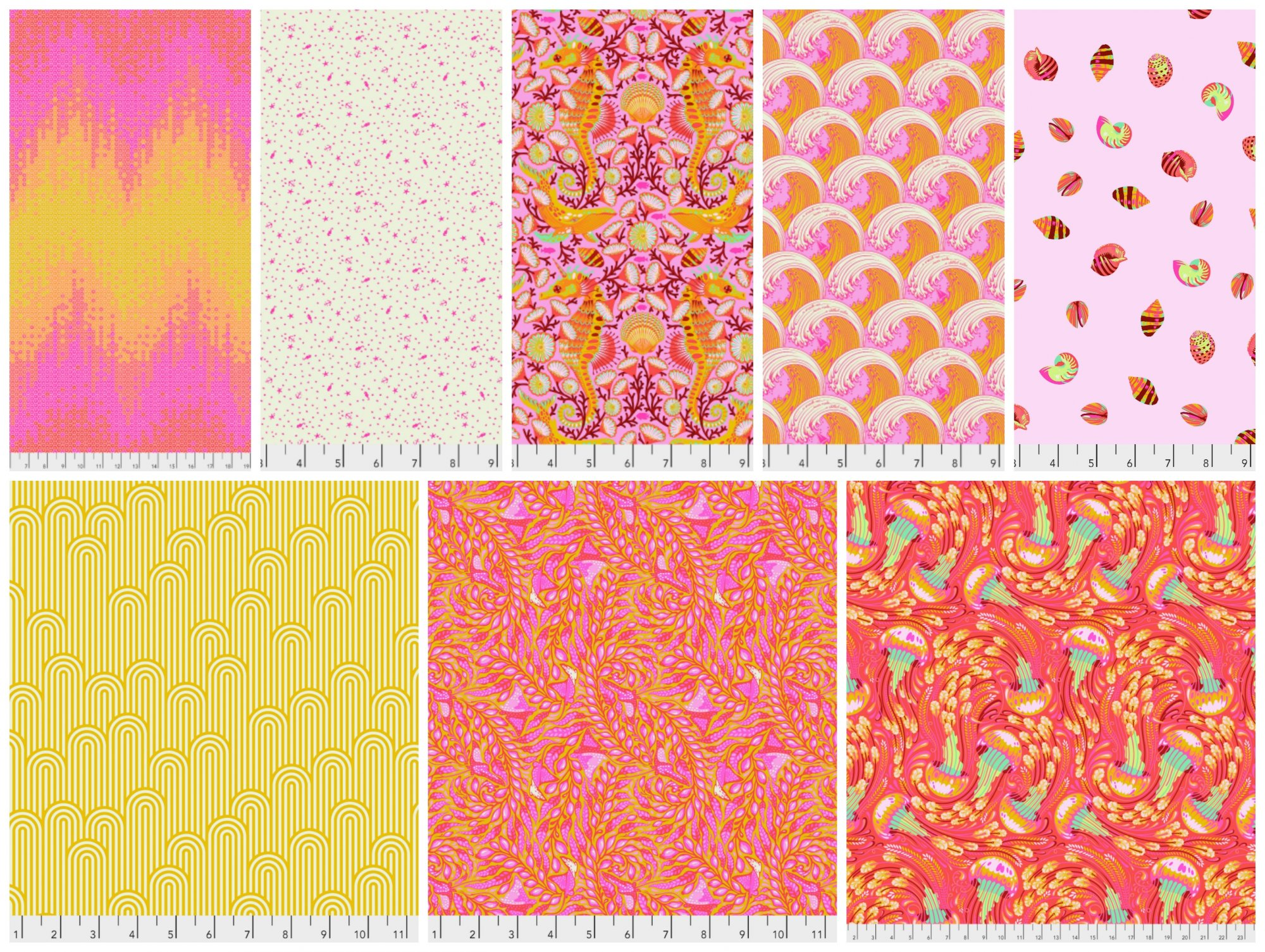 Zuma  by Tula Pink Fat Quarter Bundle in Glow Fish - 8 Count