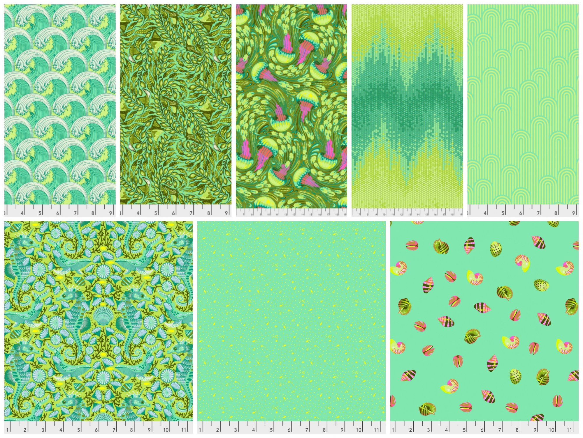 Zuma  by Tula Pink Fat Quarter Bundle in Sea Glass - 8 Count