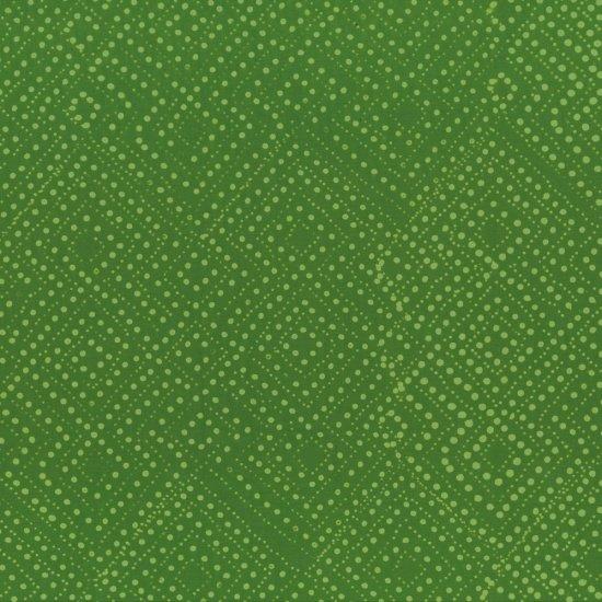 Hand Dyed Batiks Leaf Green Dot Squares