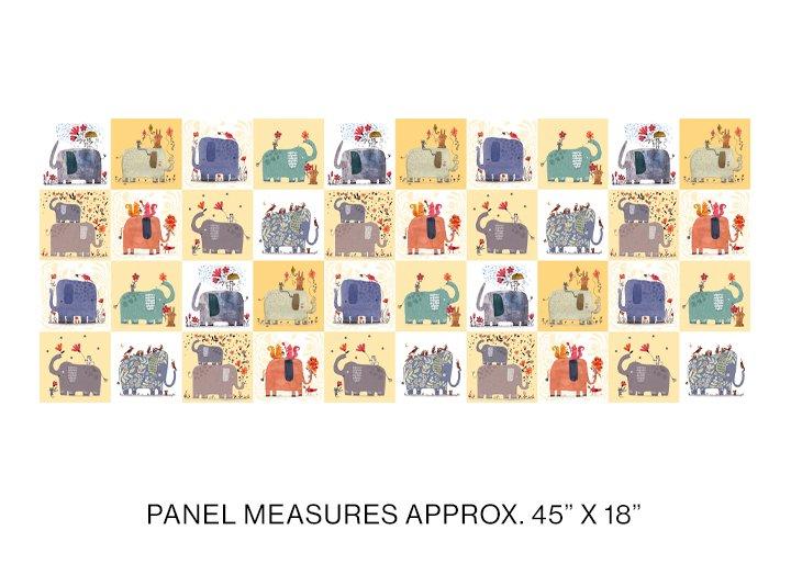 Elephant Joy Panel Yellow Multi