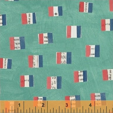 Wonder French Flags Aqua by Carrie Bloomston