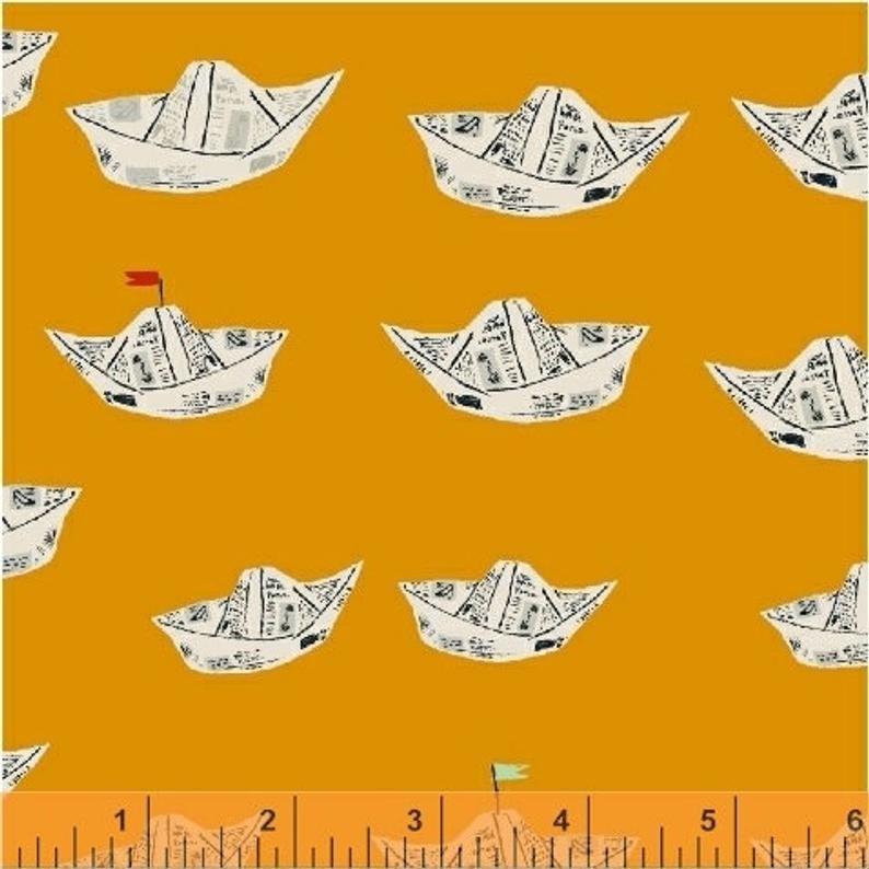 Far Far Away 2 - Orange Newspaper Boats by Heather Ross