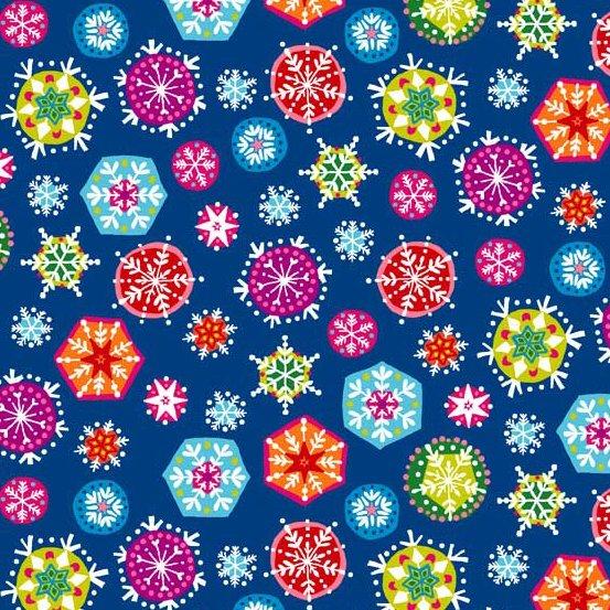 Joyeux Snowflakes Deep Blue