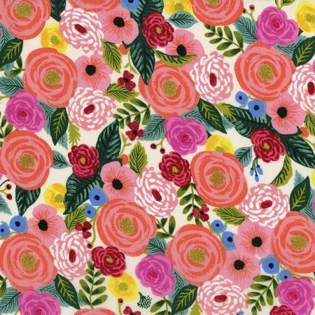 English Garden - Juliet Rose - Cream Rayon Fabric