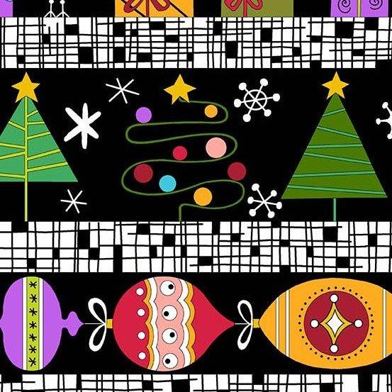 Holiday Tweets Border Stripe Black